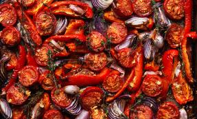 Roasted red vegetables with ginger and garlic