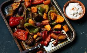 Smoky roast vegetables with sesame yogurt