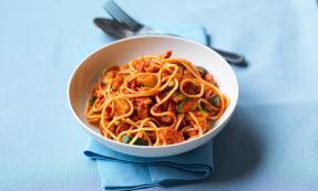 Spaghetti with courgette, chilli, tomato and bacon