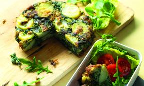 Spinach, red onion and potato tortilla