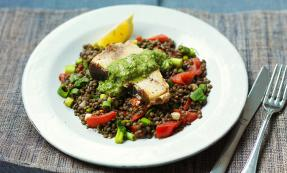 Roasted swordfish with salsa on puy lentils