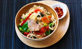 Thai style noodles with gingered pork
