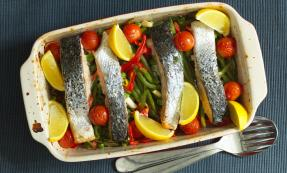 Tray baked salmon and vegetables
