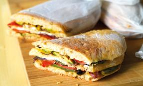 Goat's cheese and roast vegetable pan bagnat