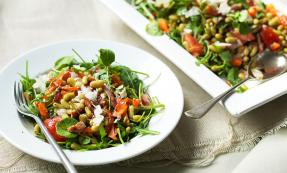 Warm bacon, flageolet bean and watercress salad