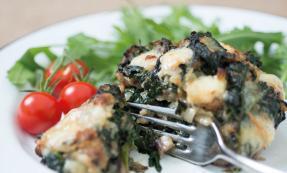 Spinach and Wensleydale stuffed portobello mushroom