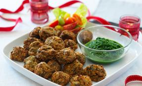 Baked mini spinach and onion bhaji with coriander dip