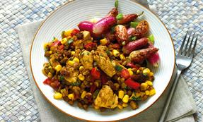 Chicken, corn & lentil pilaf