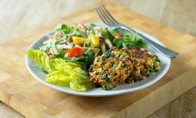 Spinach, corn and chickpea fritters