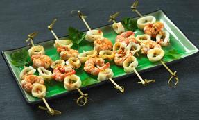 Squid and prawn skewers