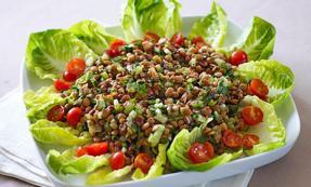 Herby lentil salad with a tomato sumac vinaigrette