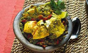Green masala fish curry
