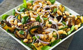 Minted aubergine with spinach and pine nuts