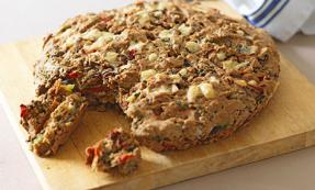 Caramelised onion, red pepper and courgette soda bread