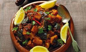 Moroccan squash and aubergine tagine