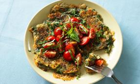 Wholemeal spinach and cheddar pancakes